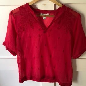 Old Navy Sheer Cranberry Top with Embroidery